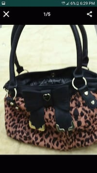 black and brown leopard print leather tote bag Las Vegas, 89122