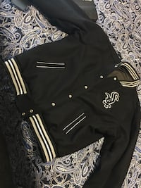 Black and white sox button up letterman jacket