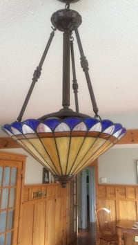brass frame with blue and beige shade lantern lamp Logy Bay-Middle Cove-Outer Cove, A1K