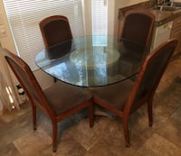Elegant Glass Top Dining Set with Solid Wood Chairs Laguna Niguel, 92677