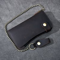 TWENTY FOUR STREET RETRO LONG LEATHER MULTI CARD WALLET WITH CHAIN