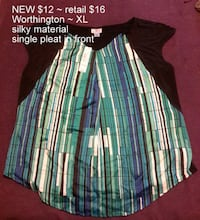 NEW Worthington XL silky pleated top Martinsburg, WV, USA