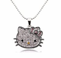 New Silver Color Korea Crystal Cute hello kitty Cat Necklaces Pendants Fashion Jewelry for women MKZ268 Rockville