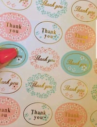 Thank you stickers with gold print - 100 stickers Toronto, M9W 6S4
