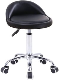 NEW KKTONER PU Leather Round Rolling Stool with Back Rest Height Adjustable Swivel Drafting Work SPA Medical Task Chair with Wheels Black