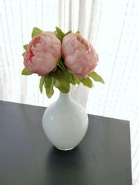 White vase with pink peony flowers Long Beach, 90805
