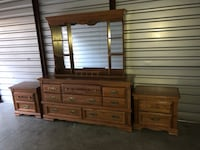Broyhill Solid Wood Long Dresser With Mirror and 2 Nightstands  Woodbridge, 22192