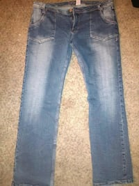 women's gray and white-faded jeans