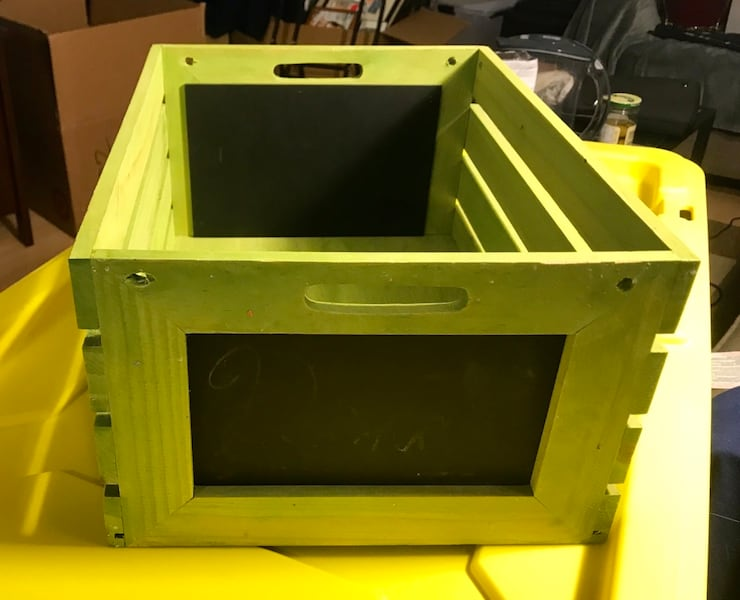"Wooden Crate - lime green - 18"" x 12"" 4"