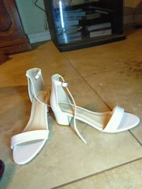 pair of white leather open-toe ankle strap heels Chino, 91710