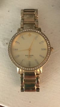 round gold-colored analog watch with link bracelet Los Angeles, 90036