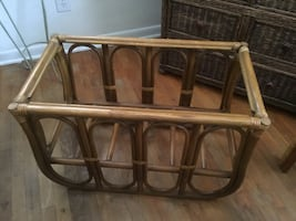 Two bamboo and rattan end tables