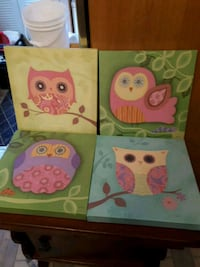 Set of four owl prints