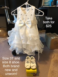 Brand new flower girl holiday church toddler dress and shoes