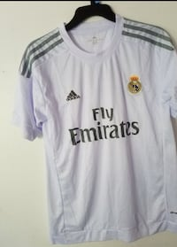 white and black Adidas Fly Emirates jersey shirt Brooklyn, 11214