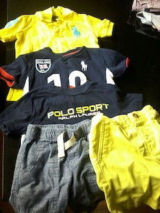3 polo shirts w 2 pair of shorts
