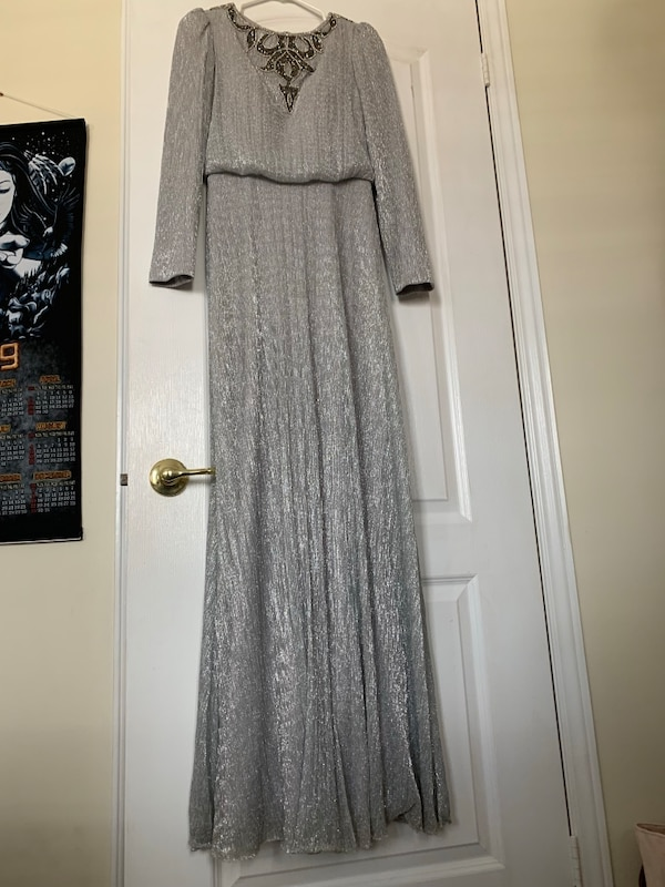 Shimmery prom silver/grey dress long sleeves modest