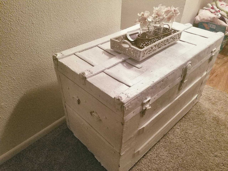 Used White Distressed Trunk Used As A Coffee Table In Mesa