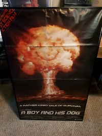 A boy and hi.s dogs poster