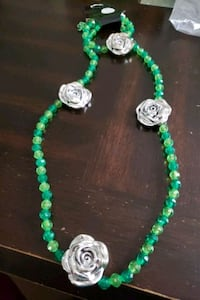 Green rose necklace set