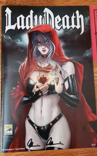 RARE only 77 printed Lady Death comic w/Swarovski