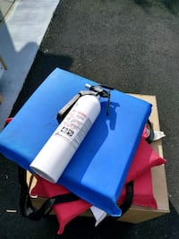 Marine fire extinguisher and 3 life cushions
