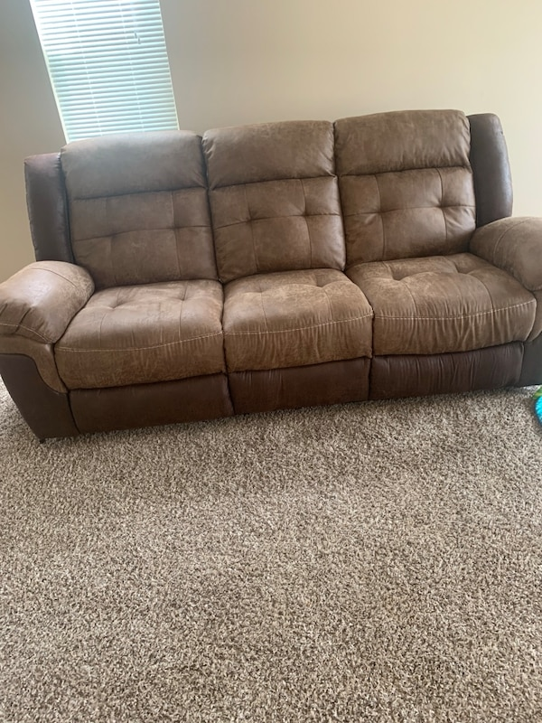 used brown leather 3 seat sofa for sale in raleigh letgo. Black Bedroom Furniture Sets. Home Design Ideas