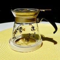 Charming Mid Century Pyrex Golden Clover Glass Syrup Mini-Carafe