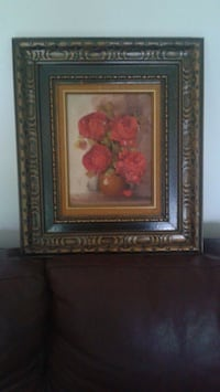 pink petaled flower painting with brown wooden frame Montréal, H8Y 1Z9