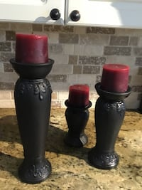 Three black candle holders & candles  Calgary, T3K 4Y5