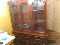 brown wooden framed glass display cabinet Vancouver, V5L 1K9