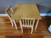 solid wood, sturdy, kids table and 2 chairs