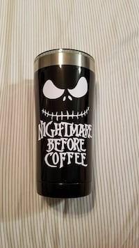 black Nightmare Before Coffee tumbler