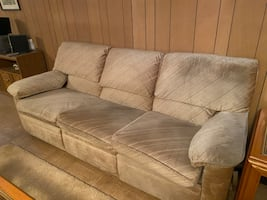 Sofa: Tan oversized with two foot rests