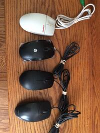 three black and one white corded computer mouses London, N6G 4Y1