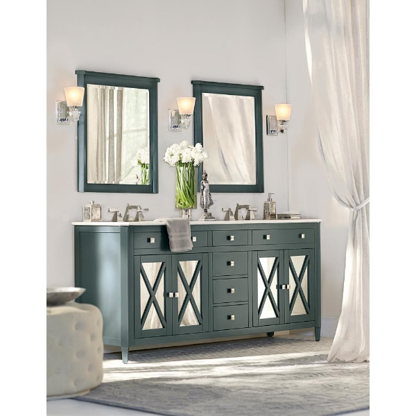 Home Decorators Collection Barcelona 73 In W X 22 In D Double Bath Vanity In Teal Blue With China White Marble Top And White Sink