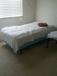 white bed sheet and white bed frame Bakersfield, 93311