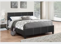 Brand new black queen faux leather platform bed frame 多伦多