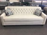 white leather sofa with throw pillows Mississauga, L5S