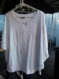 women's white scoop-neck poncho National City, 91950