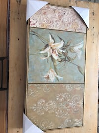 """white lily """"painting"""" - gilded decorative art piece"""