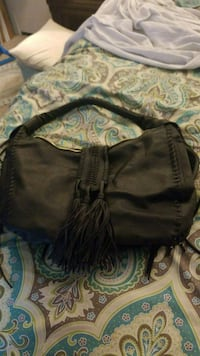 black leather crossbody bag with tassel Medford, 97501