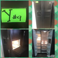 black side-by-side refrigerator with dispenser collage Los Angeles, 91346