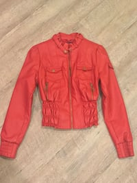 Red faux leather jacket 10/10 condition Vancouver, V6E 1G6