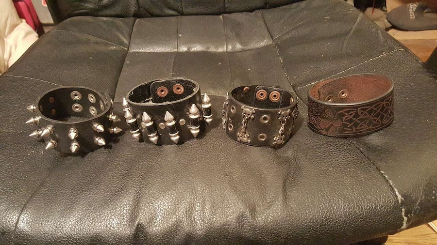 Assorted leather cuffs. $4 each.