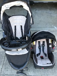 Baby's black and graco gray travel system