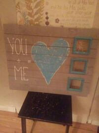 you + me painted board wall decor