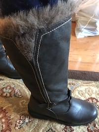 unpaired black leather single-buckled round toe knee-high boot McLean, 22102