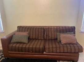 Leather Couch with Chaise (with cushions)