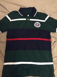 green and black stripe polo shirt